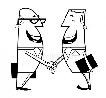 Drawing Handshake Illustration Graphics White Cartoon Font