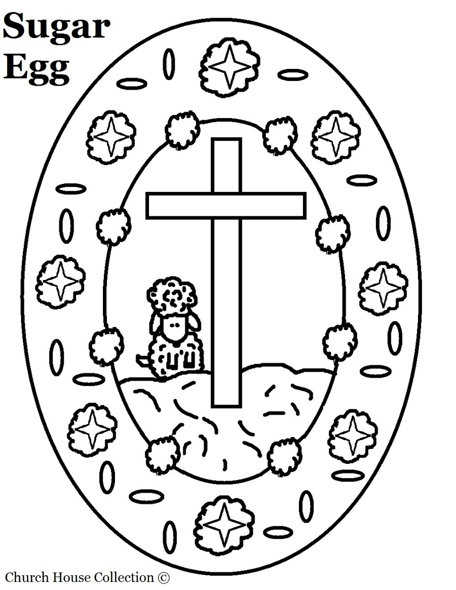 Download easter egg with a cross coloring page clipart Coloring book ...