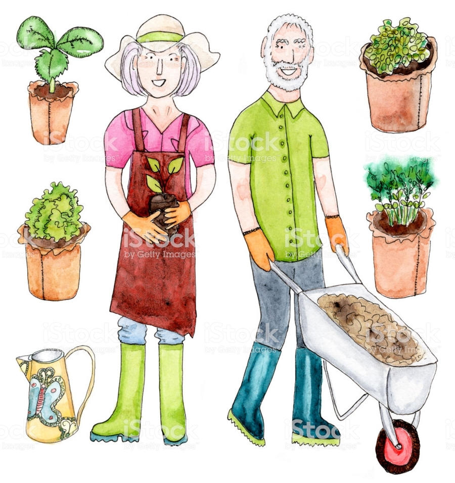 download old couple gardening clipart clip art illustration garden drawing - Garden Clipart