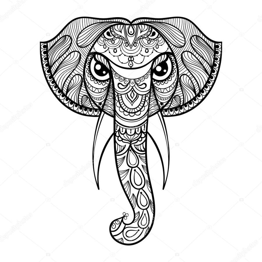 Download Henna Animal Coloring Pages Clipart Book Mehndi Drawing Illustration Elephant