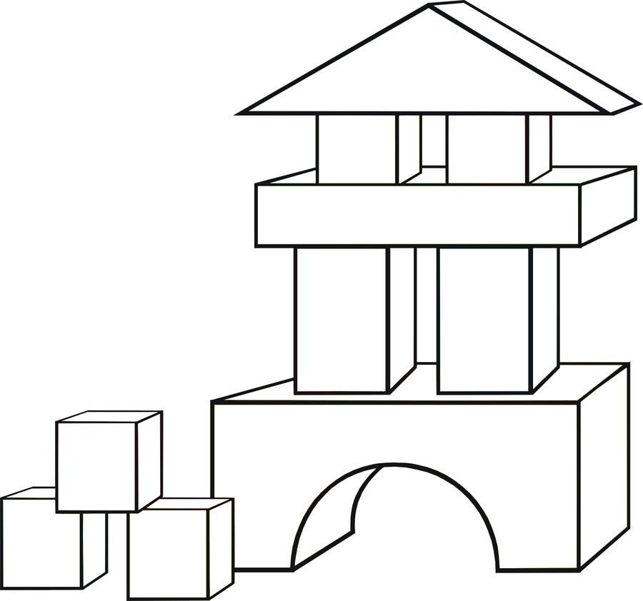 Download building blocks coloring pages clipart Coloring book Toy ...