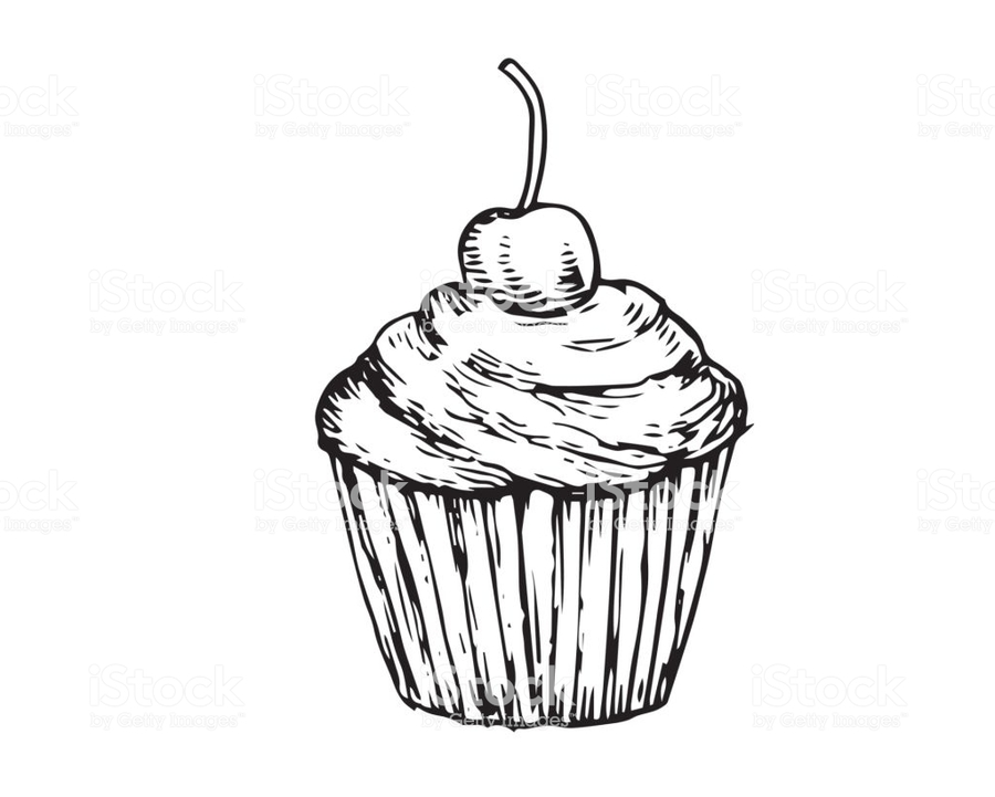 Cupcake Drawing Illustration Cake Dessert Product Food Line