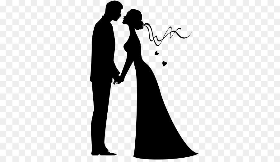 Wedding silhouette. Love black and white
