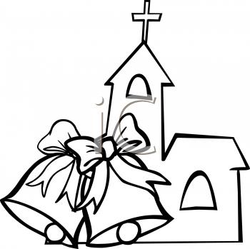 Wedding church. Black and white flowertransparent