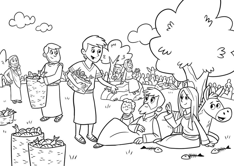 Download Feeding The 5000 Coloring Page Clipart Feeding The - Feeding-of-the-five-thousand-coloring-page