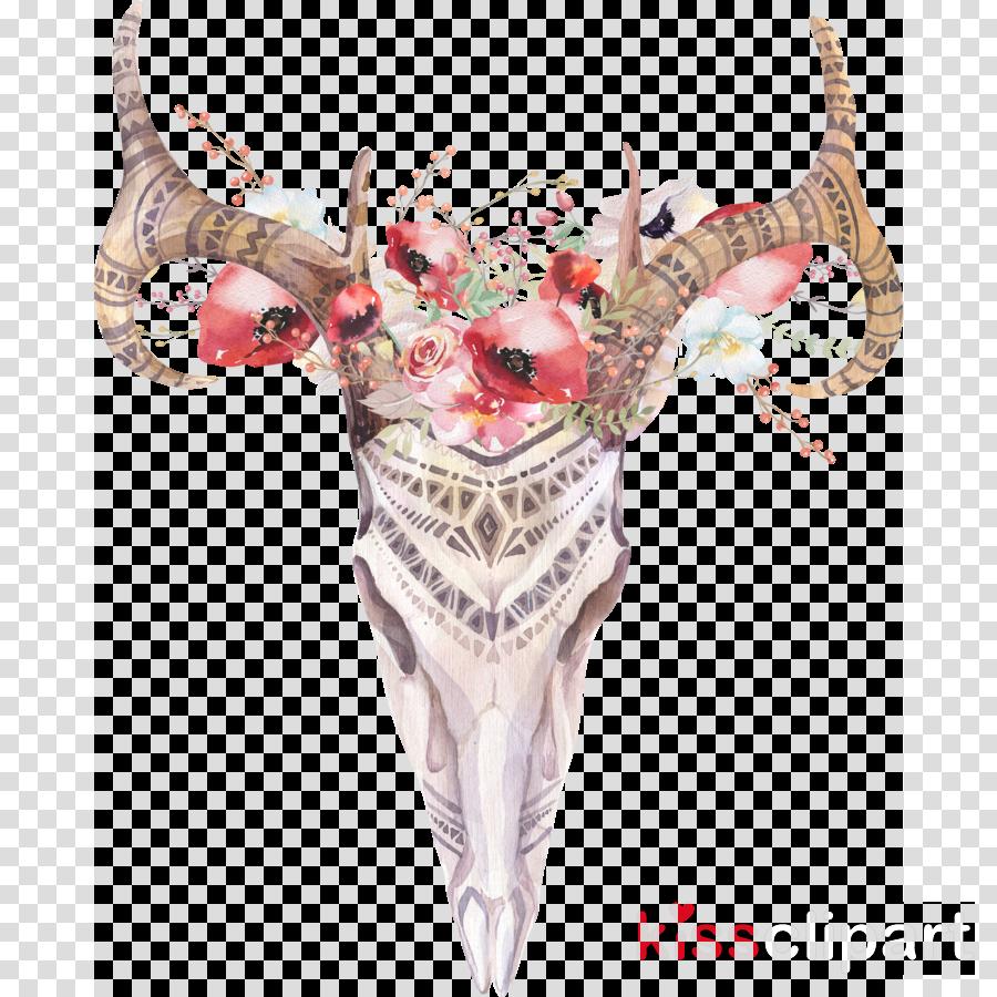 wawtercolor skull clipart Watercolor painting Boho-chic Skull