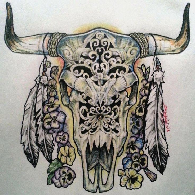 Bull Skull Tattoo Designs Tattoos Pinterest Bull Skull