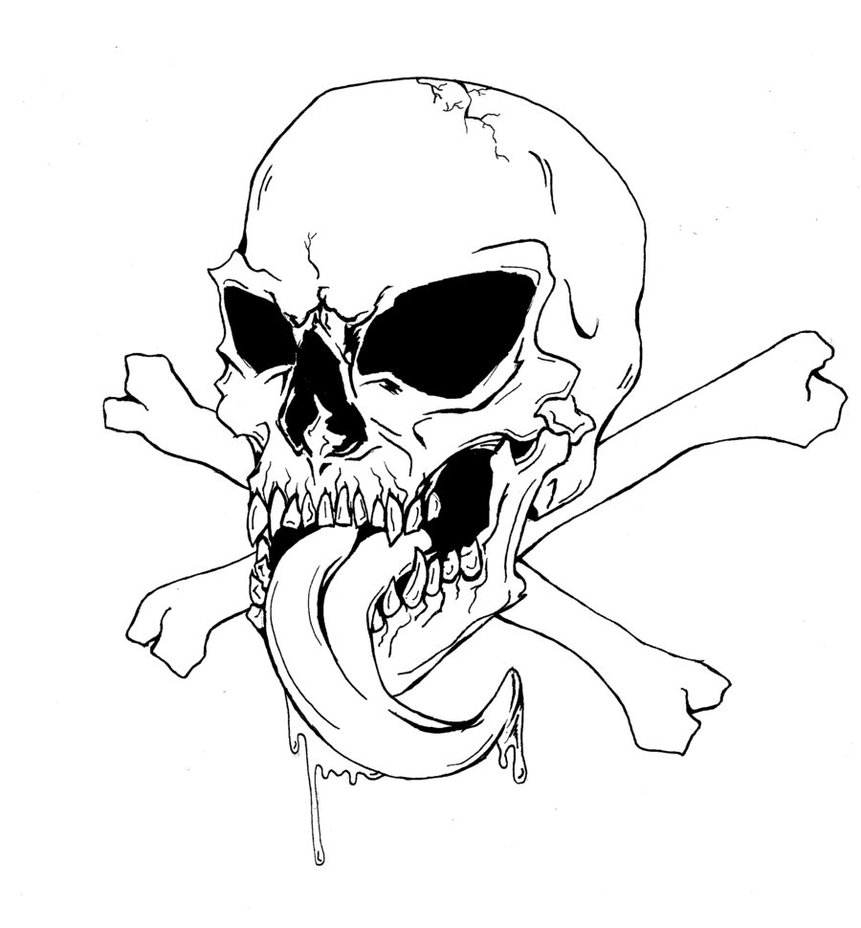 Download skulls and bones coloring pages clipart Coloring book Skull ...