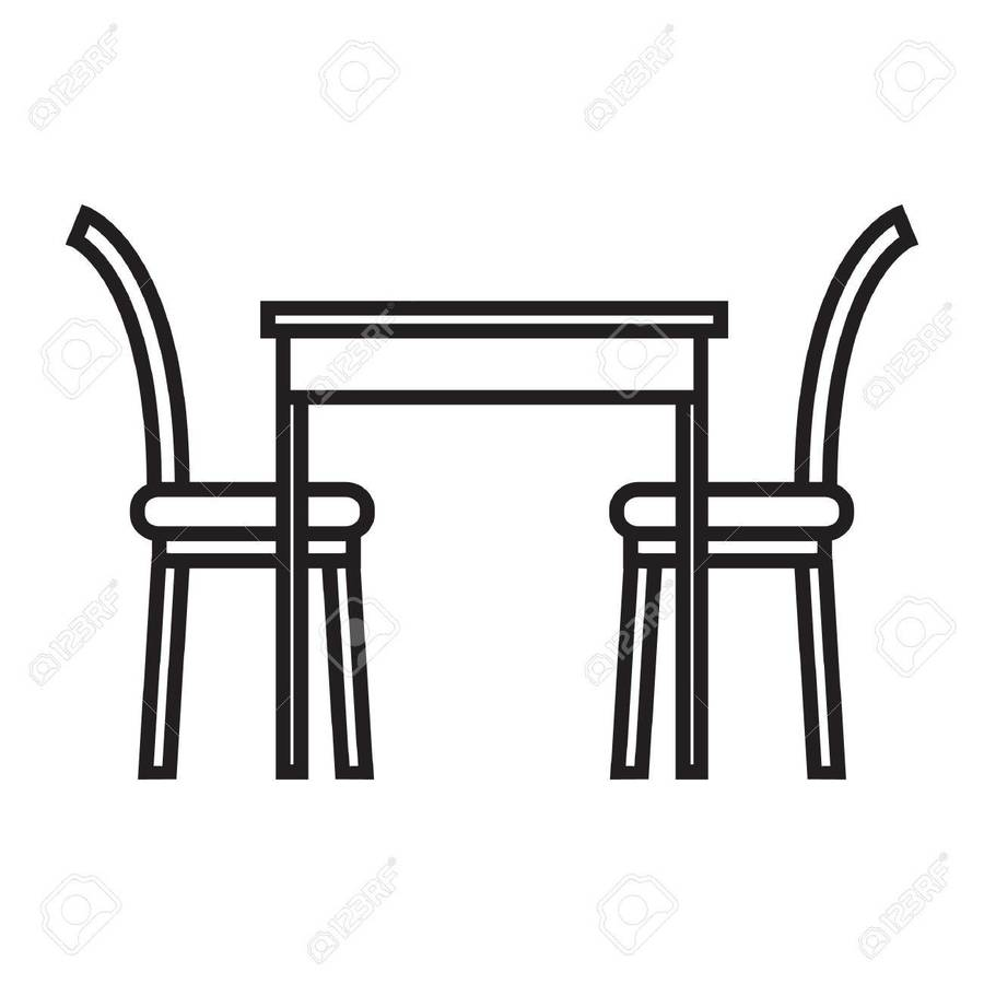 Table Chair Furniture Illustration Font Line Png Clipart Free