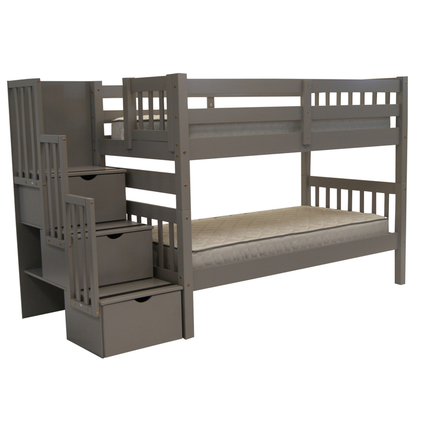 Bedz King Stairway Bunk Bed With 3 Drawers Built In To The Steps And A