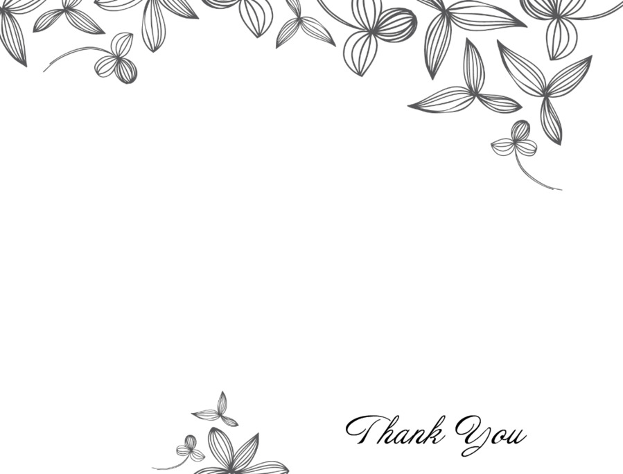 Download thank you card template black and white clipart Template ...