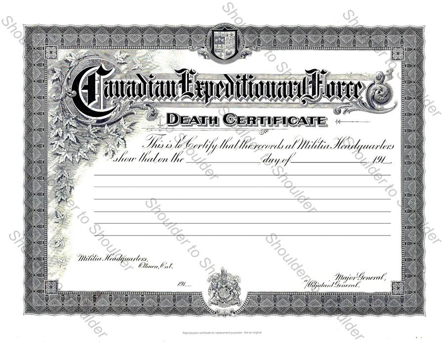 Download Militia Certificate Clipart Death Certificate Canada Birth