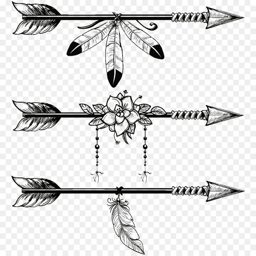 Arrow feather. Line art clipart illustration