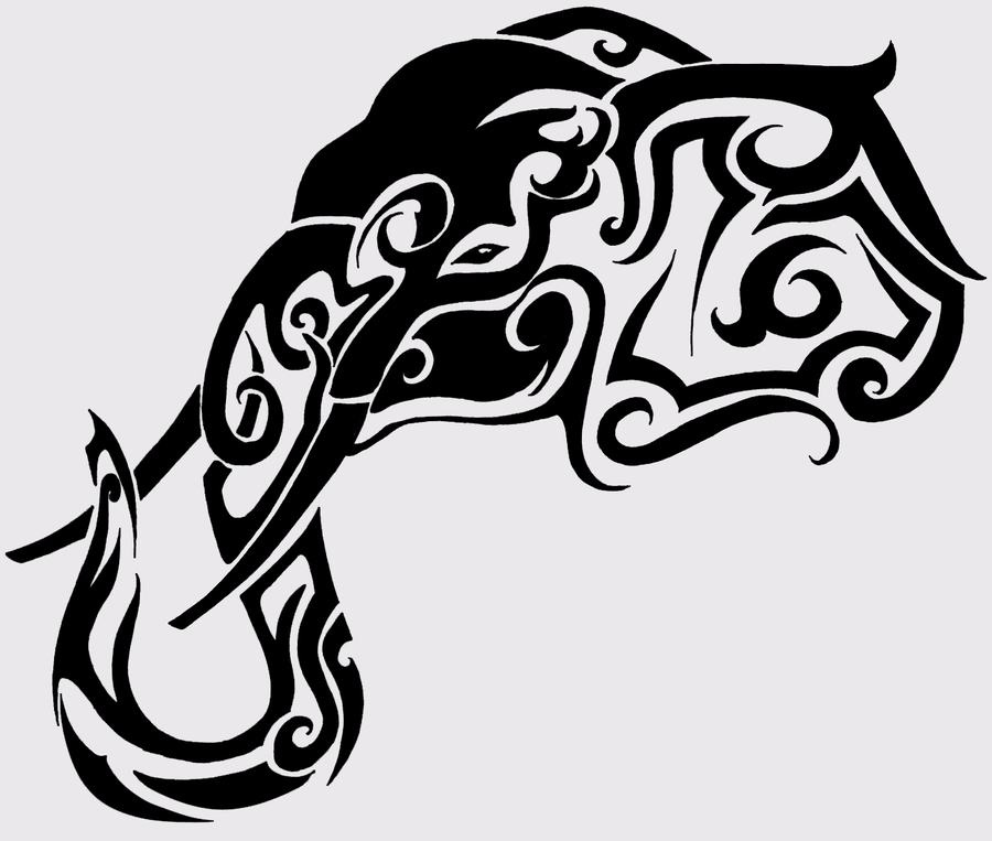 Elephants Tattoo Black Art Font Design Illustration Drawing