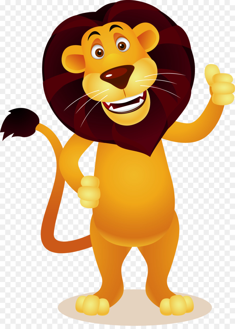 Lion standing. Cartoon clipart illustration transparent
