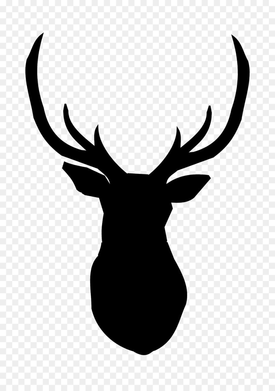 Deer head elk. White background clipart silhouette