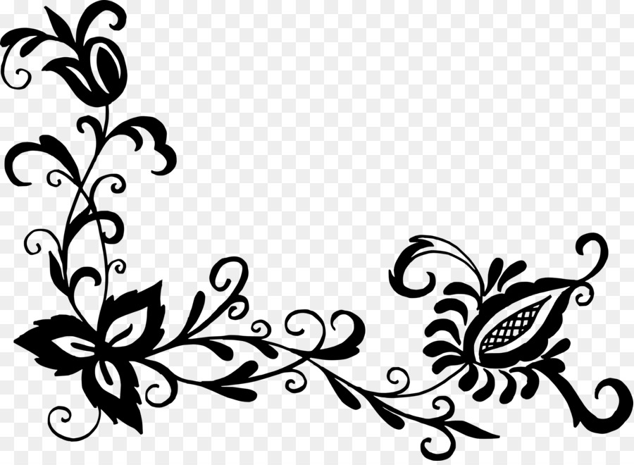 Floral Flower Design Clipart Black And White