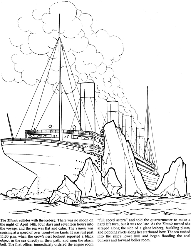 Download simple titanic coloring page clipart The Titanic ...