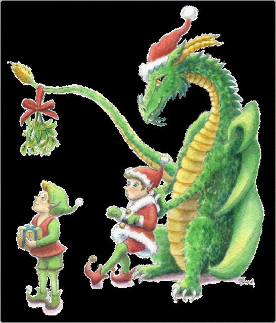 Christmas Dragon.Christmas Clip Art Clipart Dragon Illustration Holiday