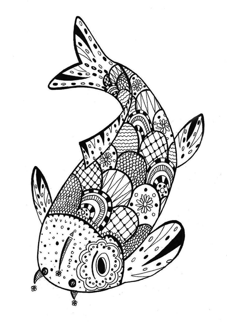 Fish Mandala Coloring Pages Clipart Book Zentangle