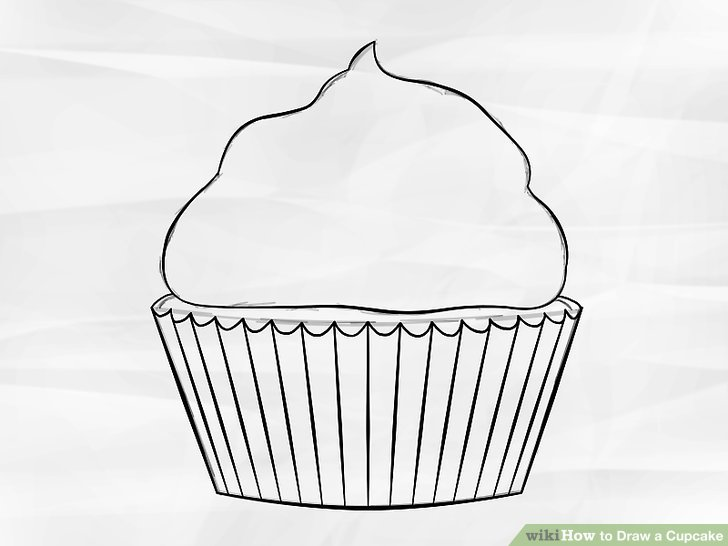 Cupcake Drawing Sketch Cake Pencil White Product Basket Font