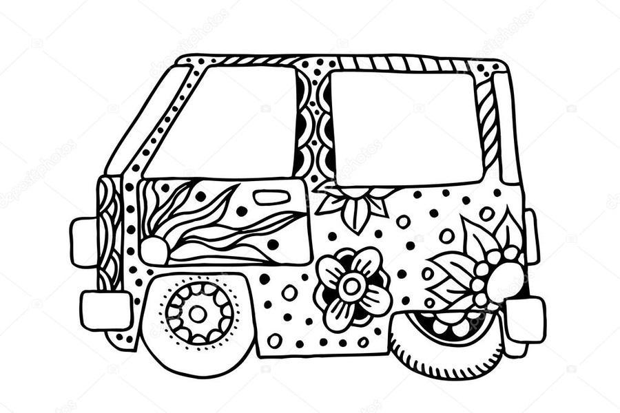 Van Car Illustration Minivan White Text Font Design Pattern