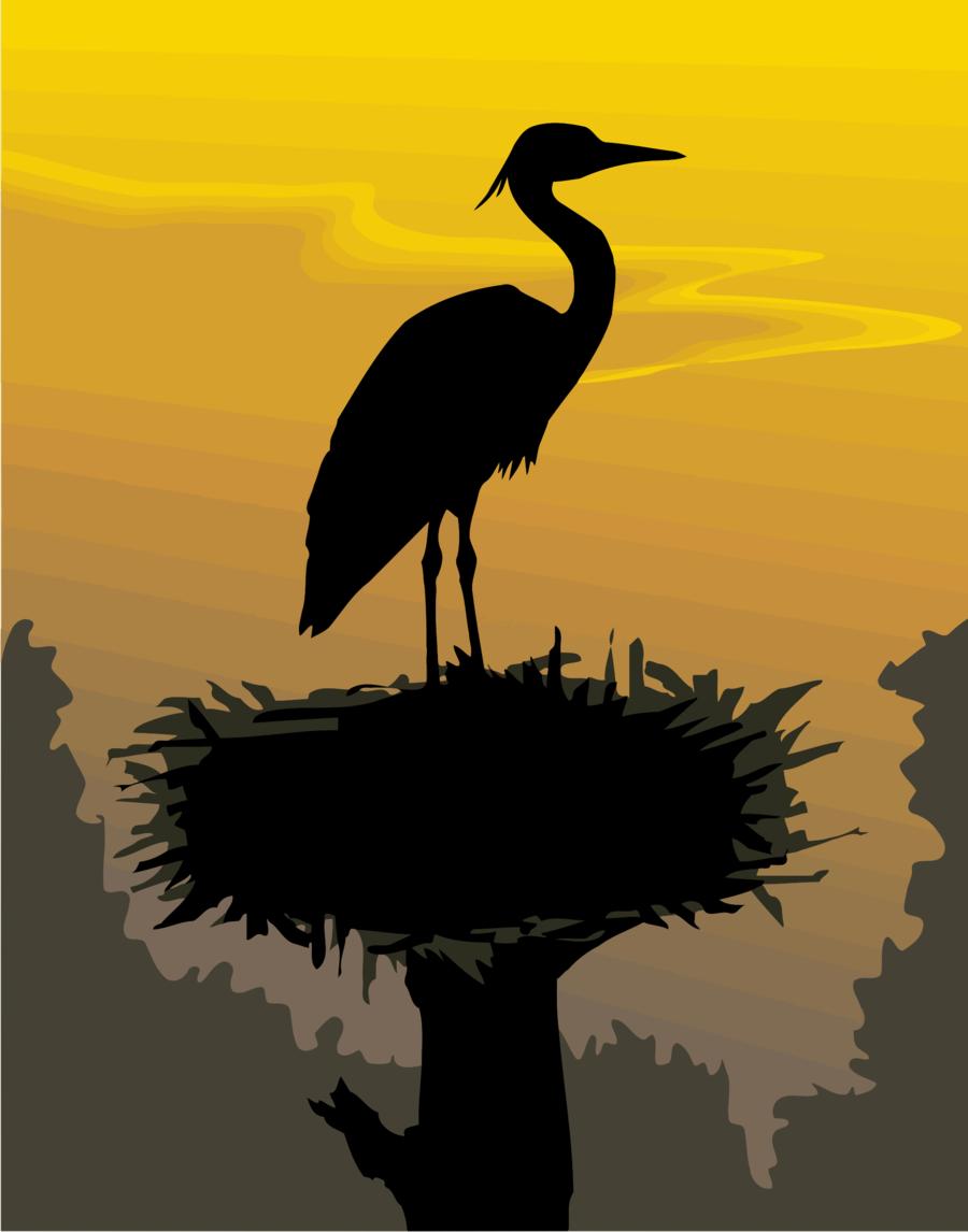 Crane Bird clipart - Stork, Bird, Silhouette, transparent