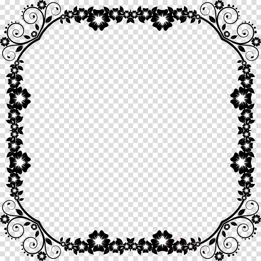 Black And White Flower Border, Plant Border, Floral, Square Border PNG  Transparent Clipart Image and PSD File for Free Download
