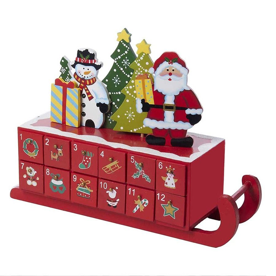 kurt adler wooden sleigh shaped advent calendar clipart santa claus advent calendars christmas countdown - Kurt Adler Christmas