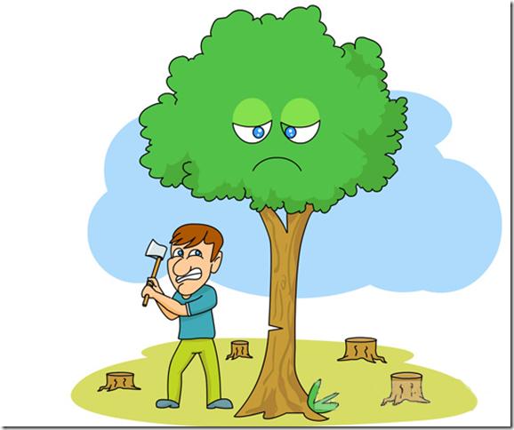 Cartoon Man Cutting Tree Drawing