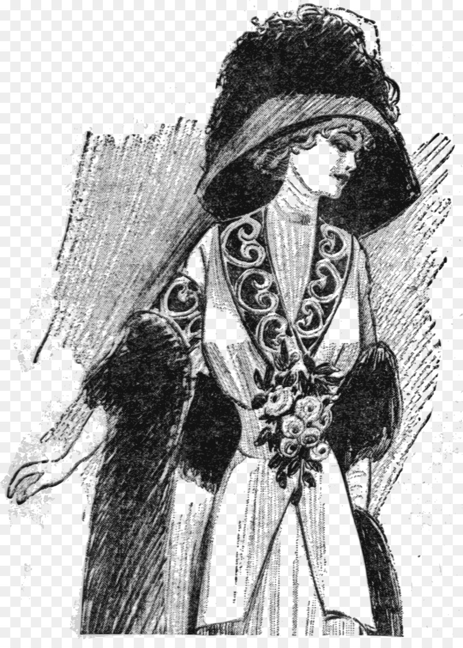 costume design clipart Woman with a Hat Drawing Dress