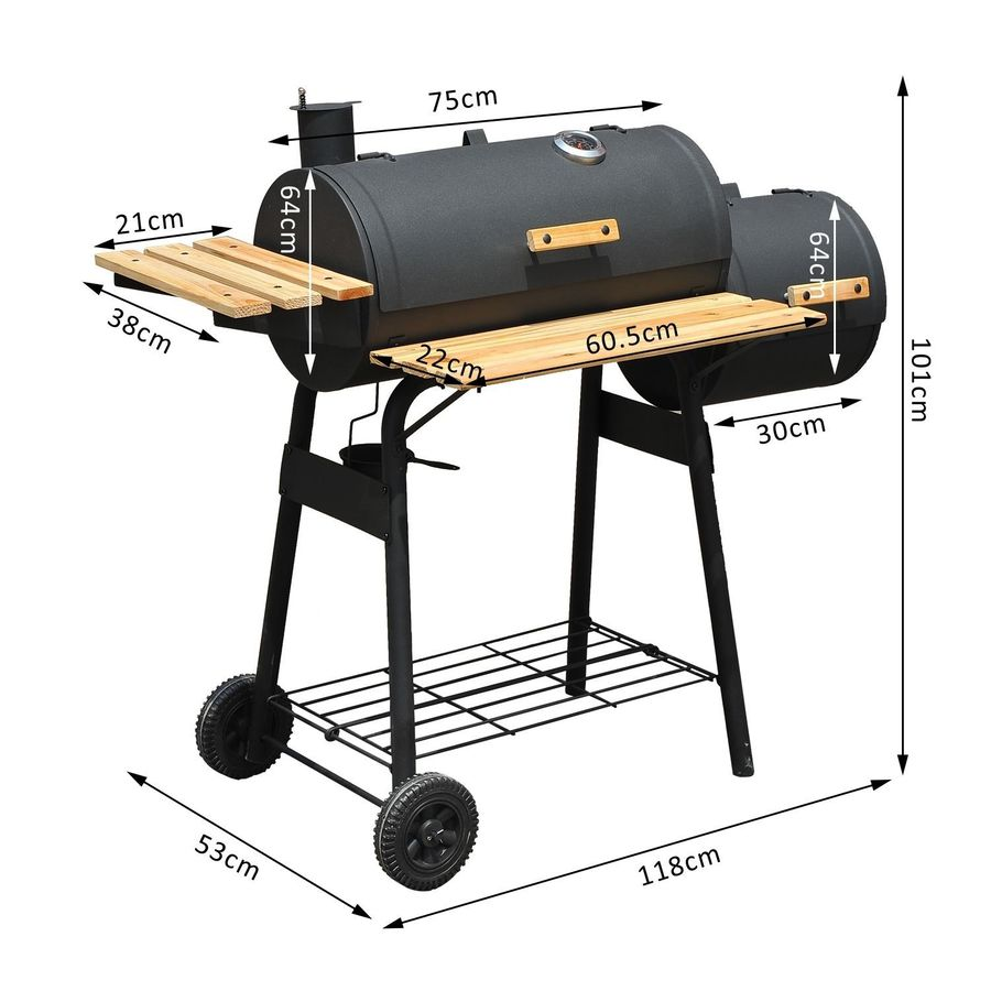 Download Outsunny Trolley Charcoal Bbq Grill Patio Outdoor Garden Smoker  Clipart Barbecue BBQ Smoker Smoking Barbecue Meat Product