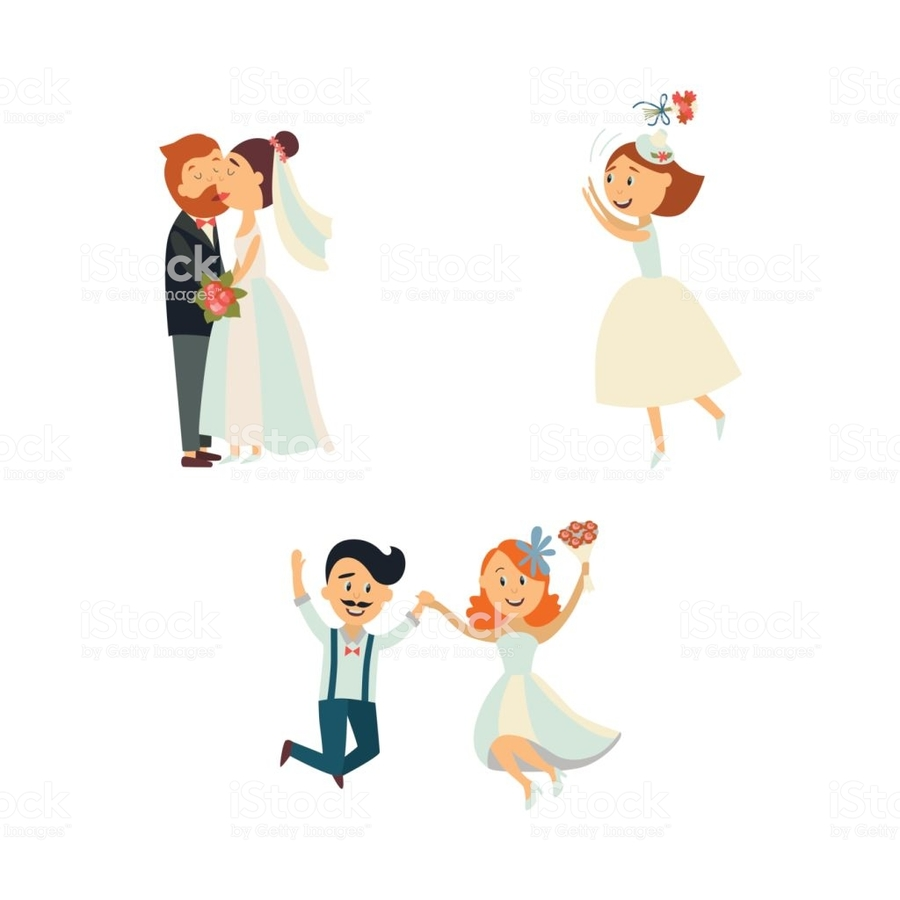 Wedding Illustration Bride Cartoon Marriage Hand Finger
