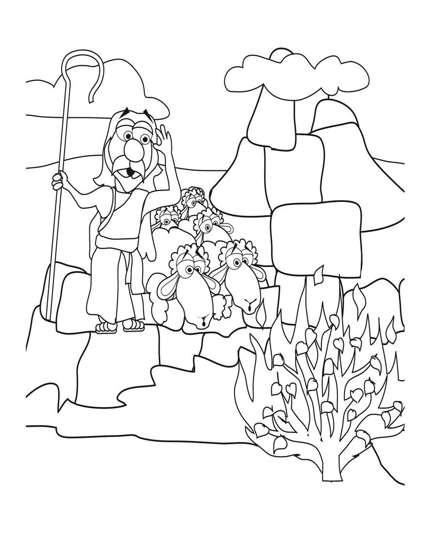 Download Jesus Moses Coloring Page Clipart Bible Burning Bush Book