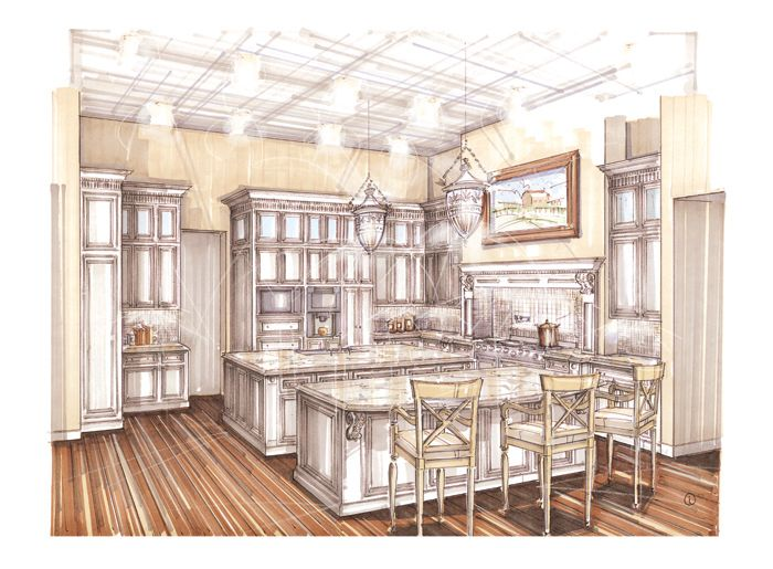 Download Kitchen Interior Perspective Render Clipart