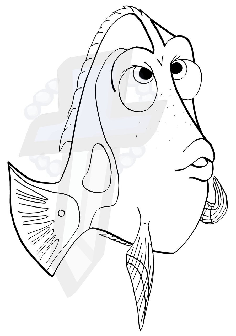 Dory Coloring Pages Clipart Book Finding Nemo Child