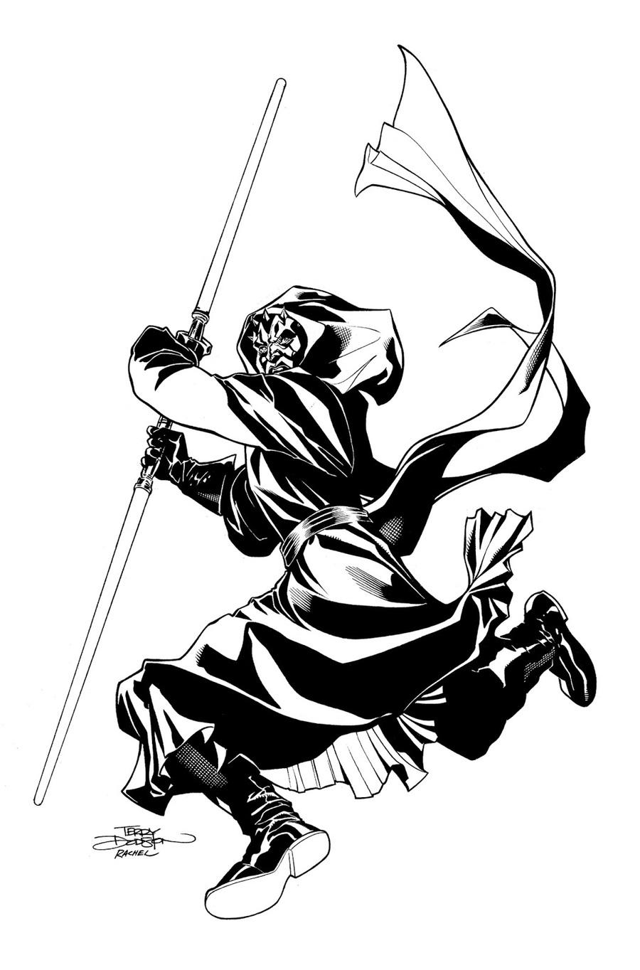Download Cartoon Clipart Darth Maul Line Art Sketch