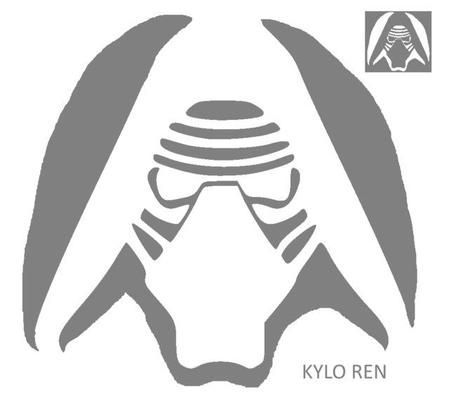 graphic relating to Star Wars Pumpkin Stencils Printable titled Clipart alternative 640*576 - kylo ren pumpkin stencil