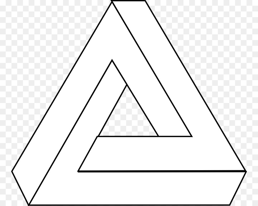 Triangle drawing. Black line background clipart