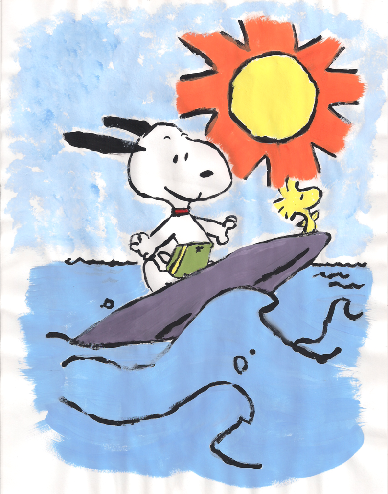 Summer snoopy. And woodstock clipart drawing