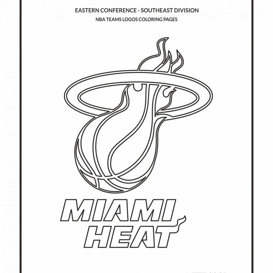 Download nba basketball team logo coloring pages clipart NBA Miami ...