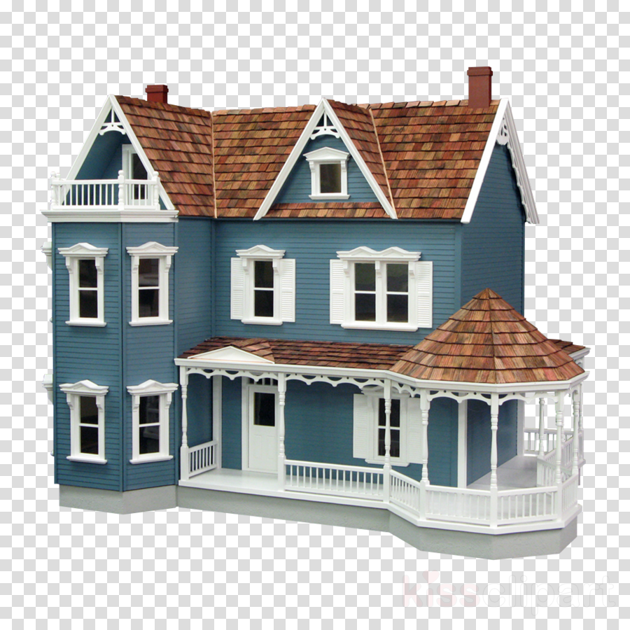 real good toys harborside dollhouse mansion with curved stairs, brown clipart Dollhouse Toy