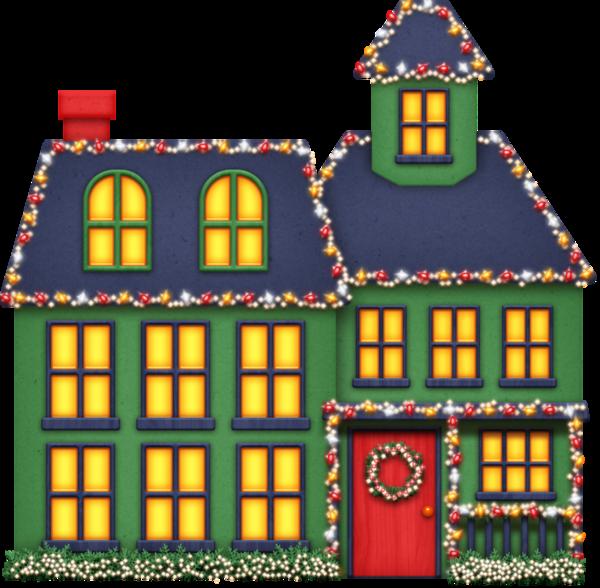 House With Christmas Lights Clipart.Christmas Lights Cartoon Clipart House Light Home