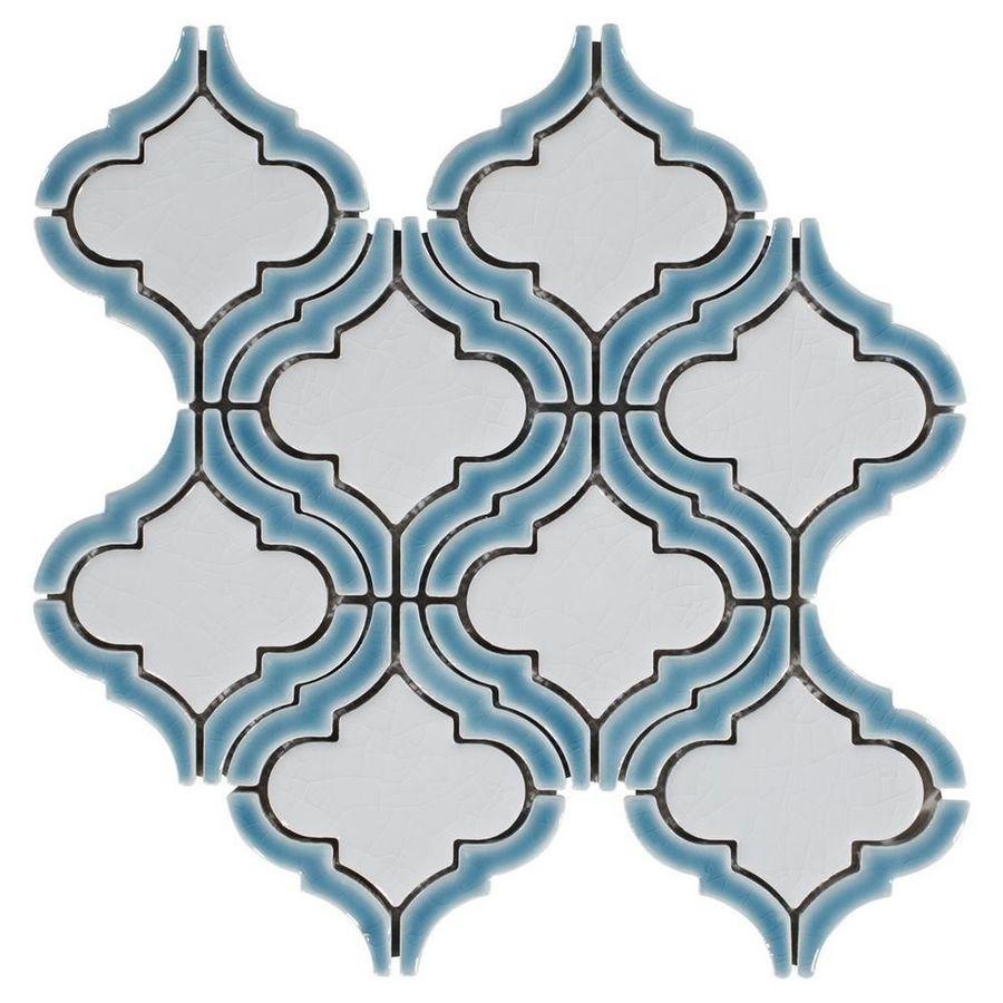 Download sea blue frame arabesque porcelain mosaic clipart Mosaic ...