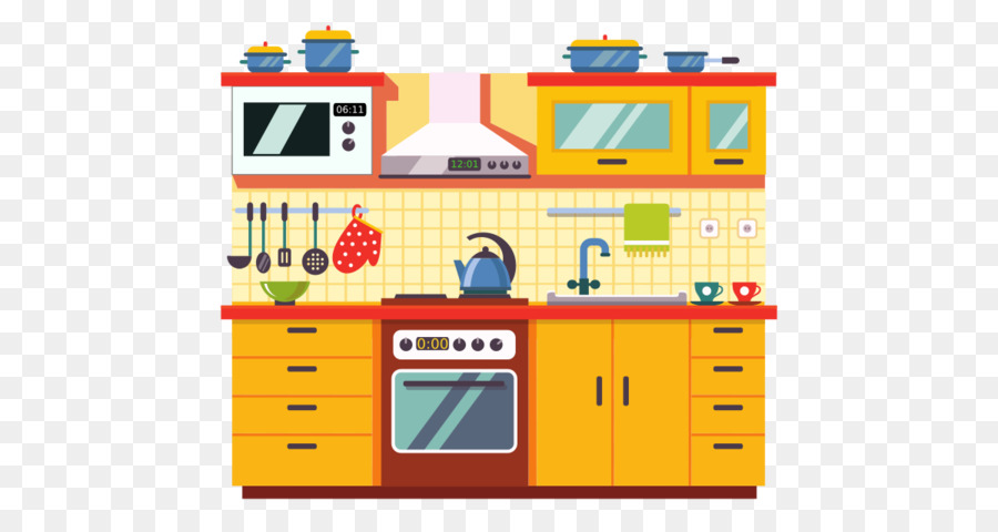 Home Cartoon clipart - Kitchen, Yellow, Line, transparent ...