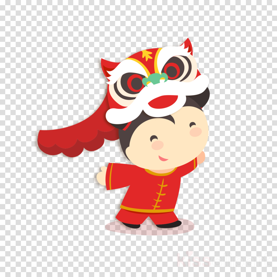 Chinese New Year Lion Dance Cartoon