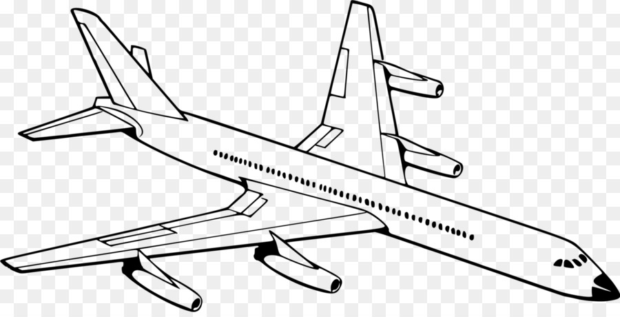 Airplane drawing. Sketch clipart transparent
