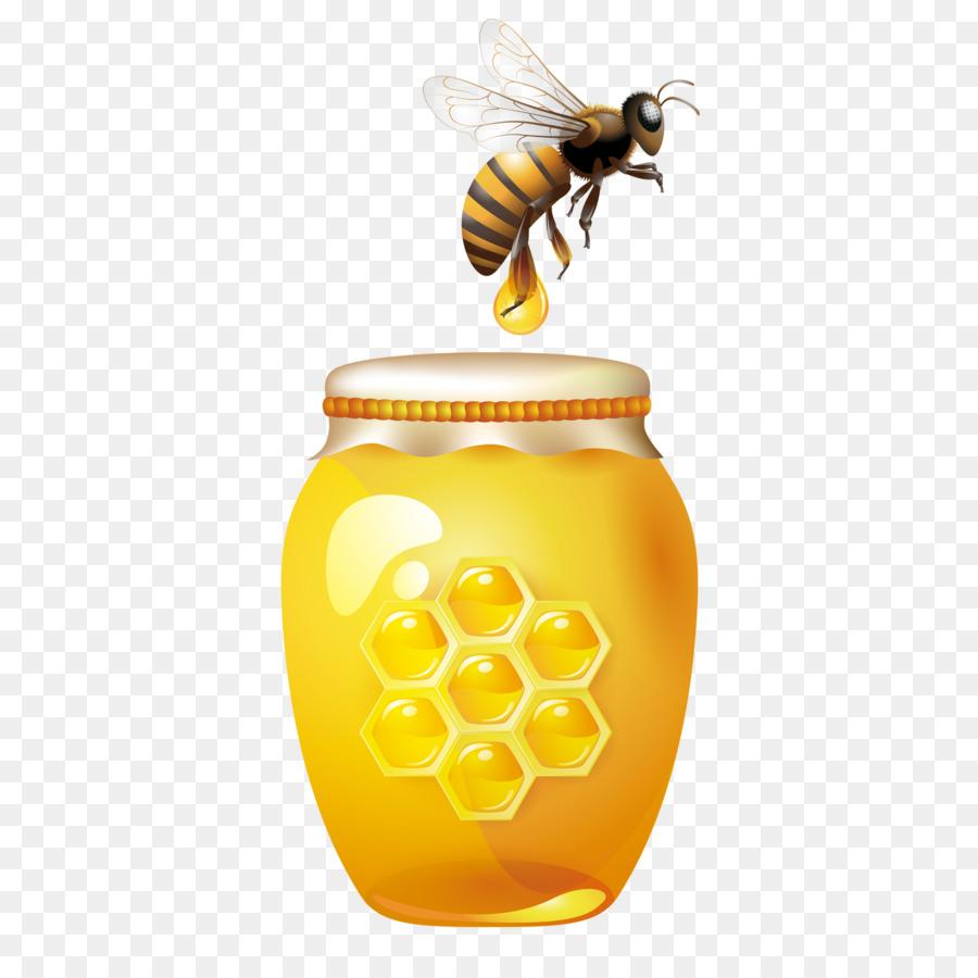 bee with honey bottle clipart Western honey bee Beehive