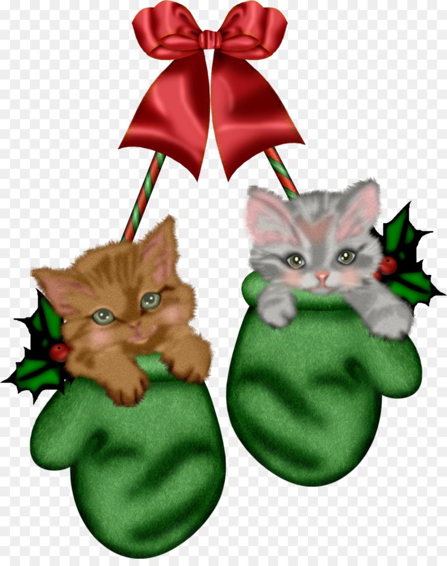 Christmas Stocking Cartoon clipart , Cat, Kitten, Christmas