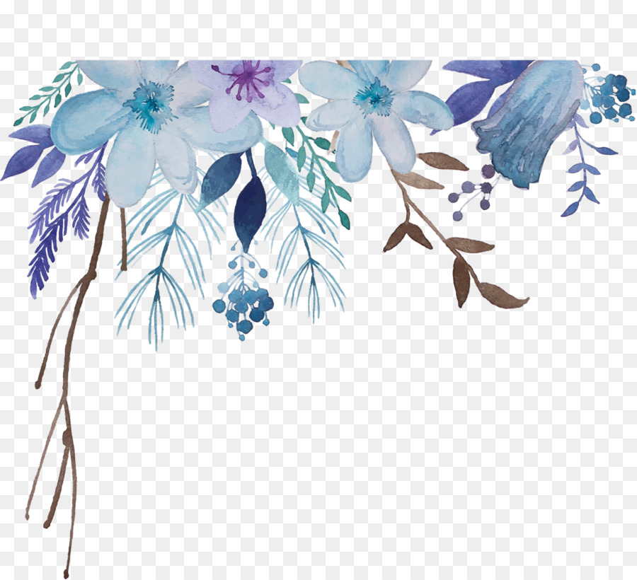 Blue Watercolor Flowers clipart , Painting, Illustration